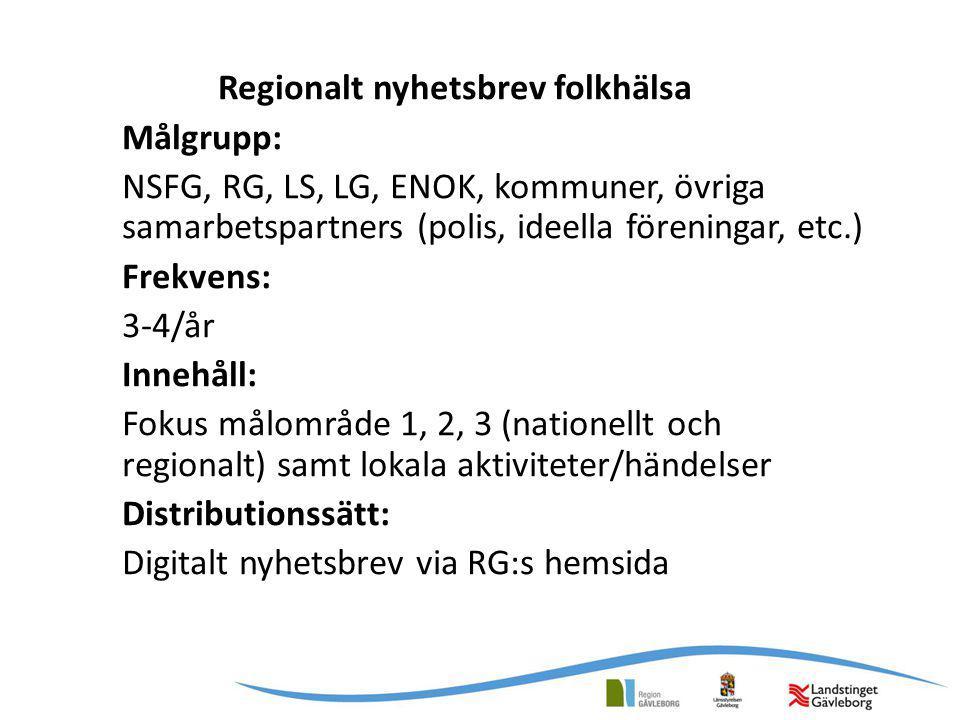 Regionalt nyhetsbrev folkhälsa Målgrupp: