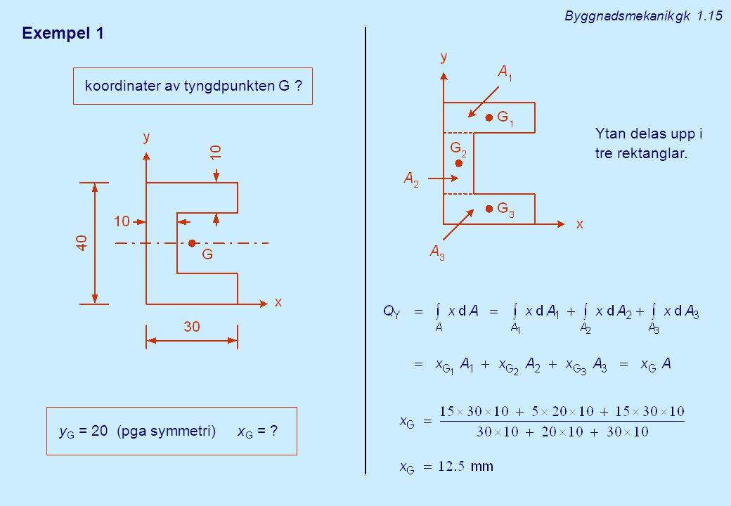 Exempel 1 koordinater av tyngdpunkten G
