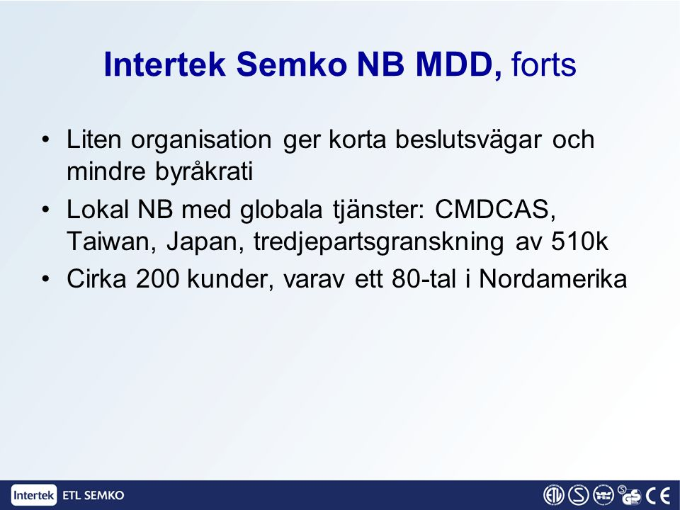 Intertek Semko NB MDD, forts