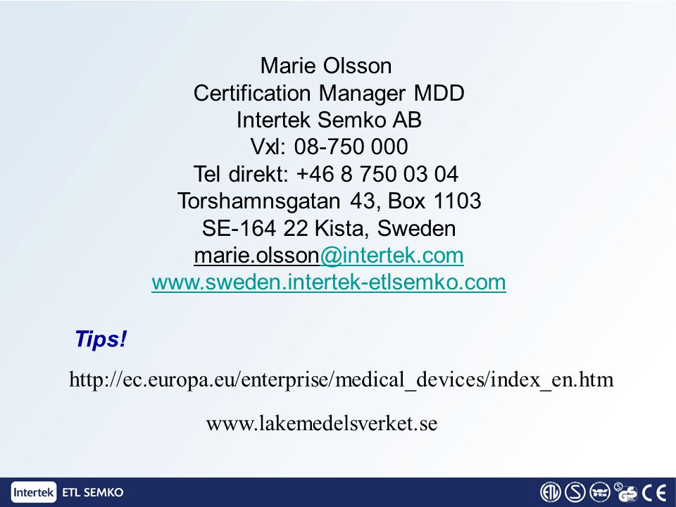 Marie Olsson Certification Manager MDD