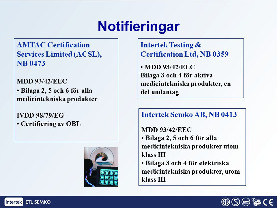Notifieringar AMTAC Certification Services Limited (ACSL), NB 0473