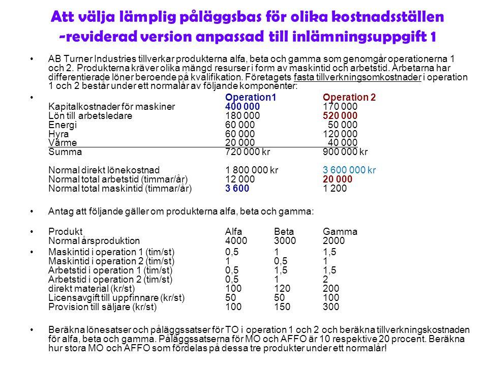 Att välja lämplig påläggsbas för olika kostnadsställen -reviderad version anpassad till inlämningsuppgift 1