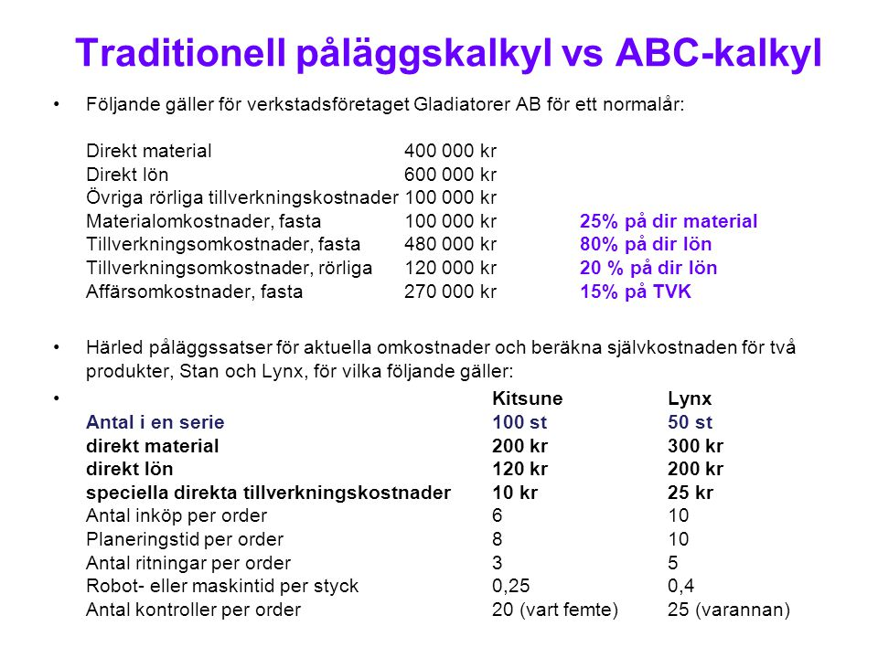 Traditionell påläggskalkyl vs ABC-kalkyl