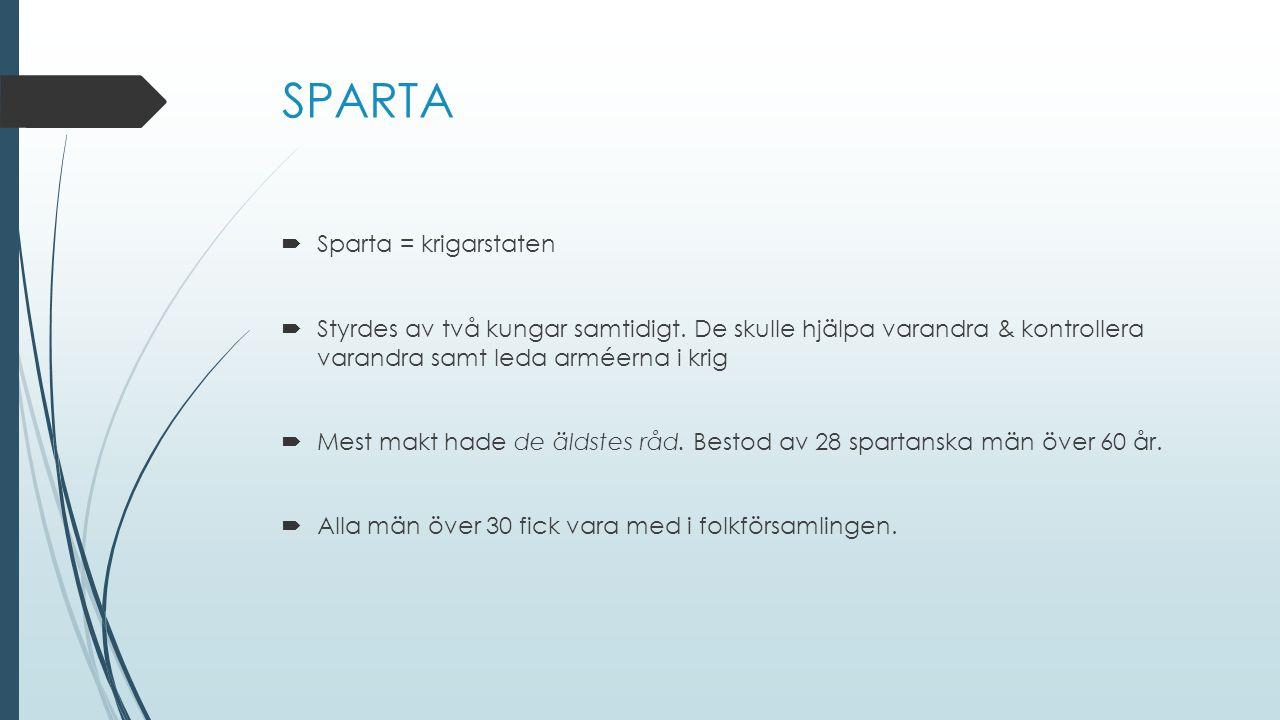 SPARTA Sparta = krigarstaten