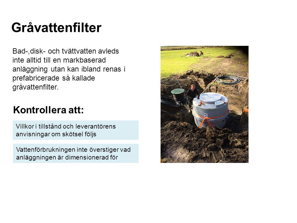 Gråvattenfilter Kontrollera att: