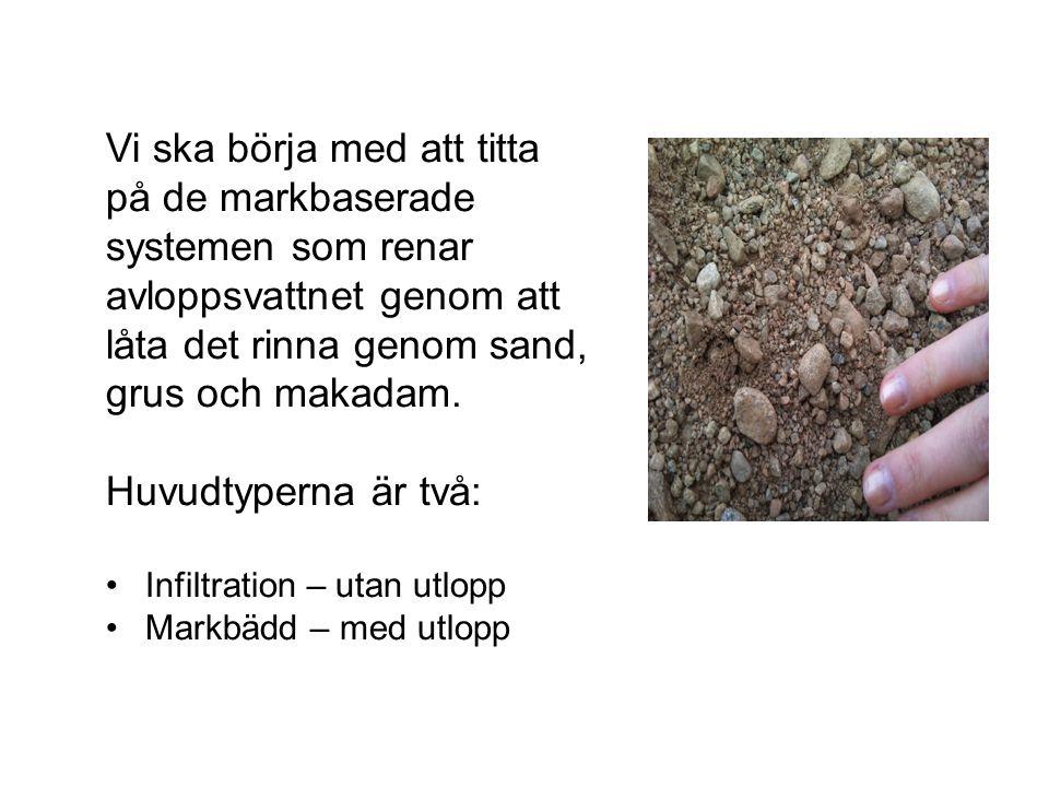 Vi ska börja med att titta på de markbaserade systemen som renar avloppsvattnet genom att låta det rinna genom sand, grus och makadam.