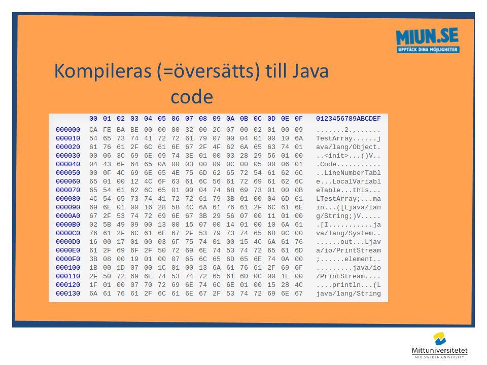 Kompileras (=översätts) till Java code