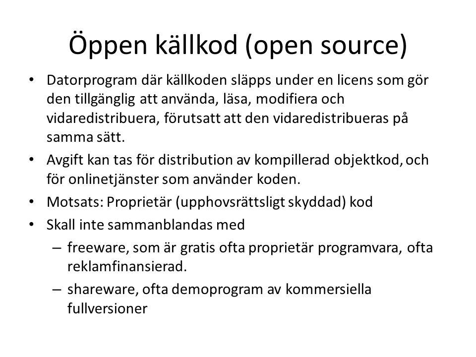 Öppen källkod (open source)