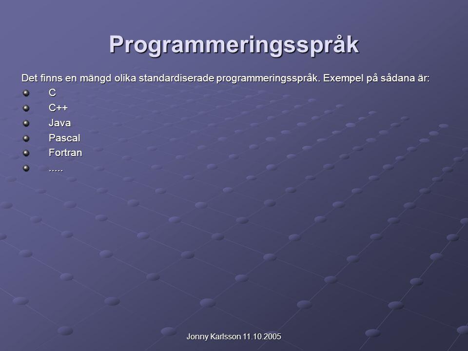 Programmeringsspråk Det finns en mängd olika standardiserade programmeringsspråk. Exempel på sådana är: