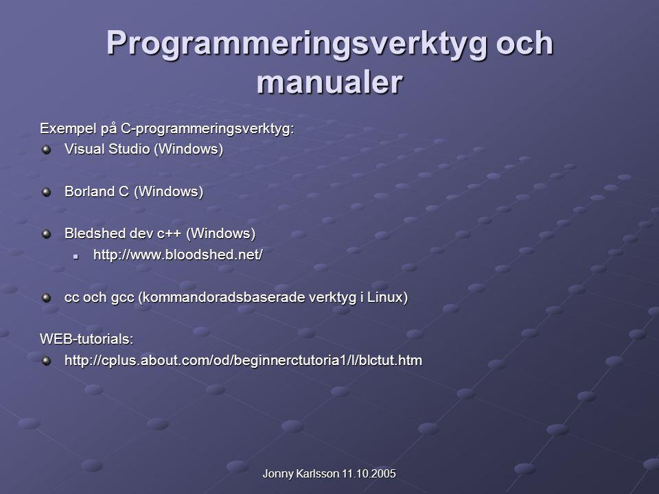 Programmeringsverktyg och manualer