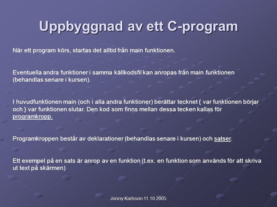 Uppbyggnad av ett C-program