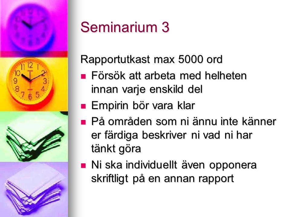 Seminarium 3 Rapportutkast max 5000 ord