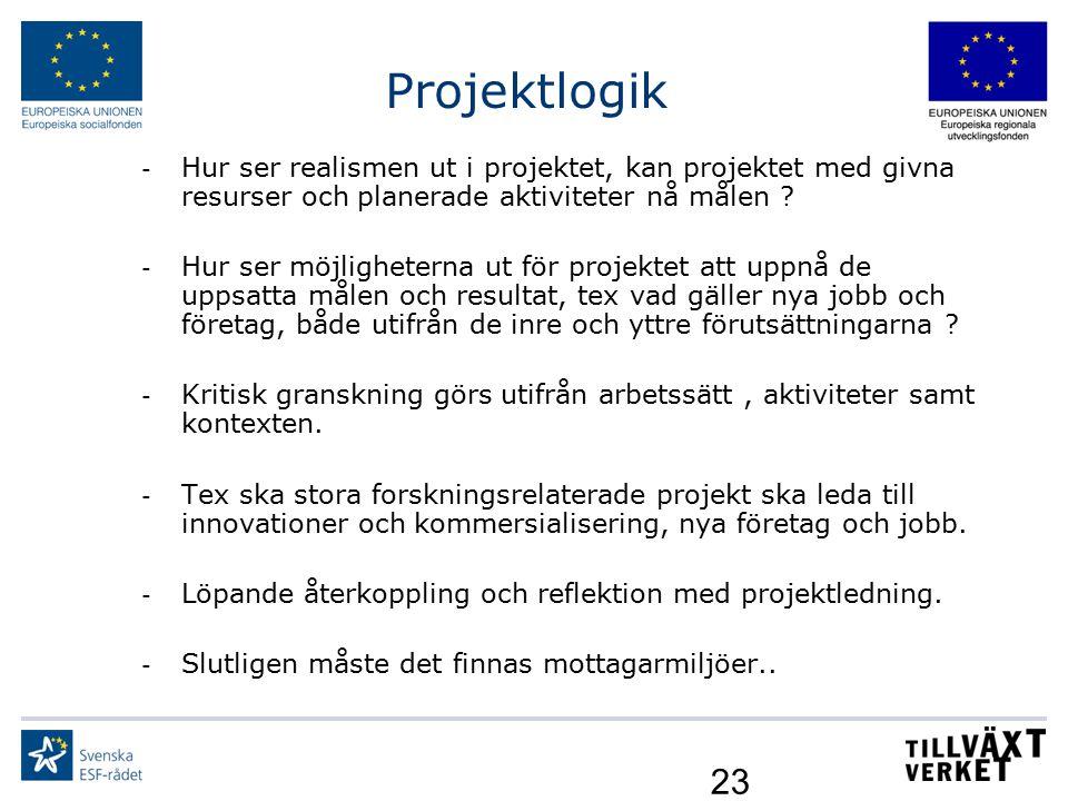 Projektlogik Hur ser realismen ut i projektet, kan projektet med givna resurser och planerade aktiviteter nå målen