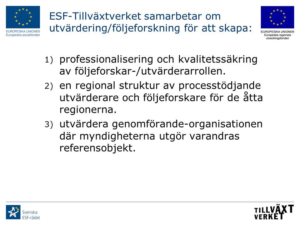 ESF-Tillväxtverket samarbetar om utvärdering/följeforskning för att skapa: