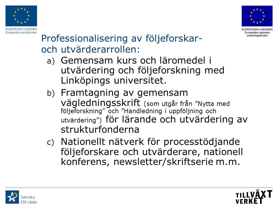 Professionalisering av följeforskar- och utvärderarrollen:
