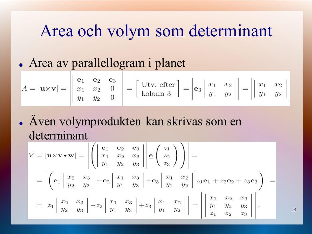 Area och volym som determinant