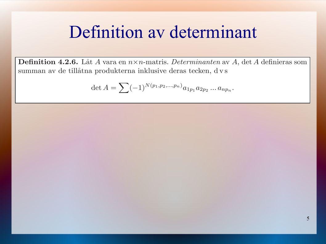 Definition av determinant