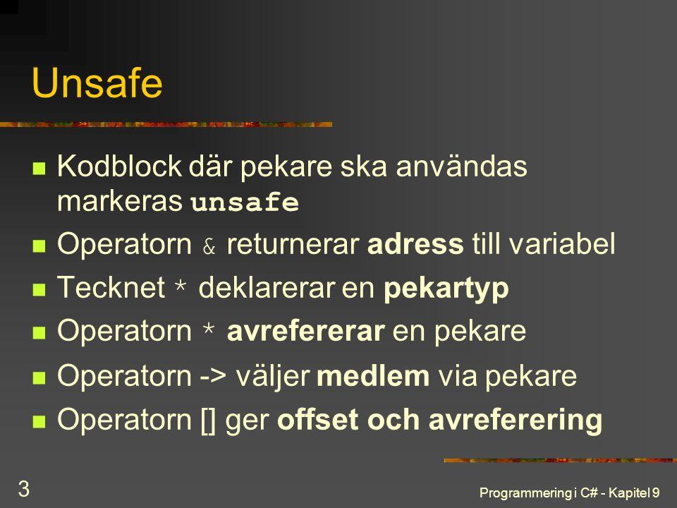 Unsafe Kodblock där pekare ska användas markeras unsafe