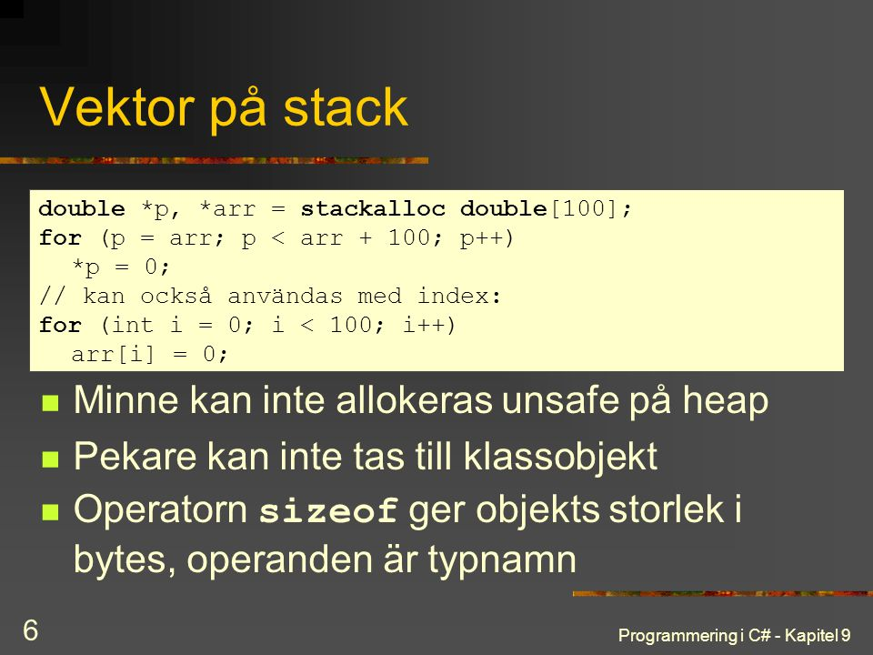 Vektor på stack Minne kan inte allokeras unsafe på heap