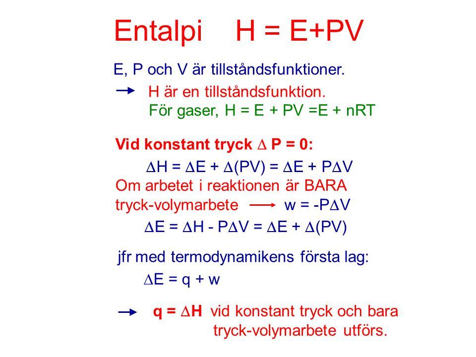 Entalpi H = E+PV E, P och V är tillståndsfunktioner.