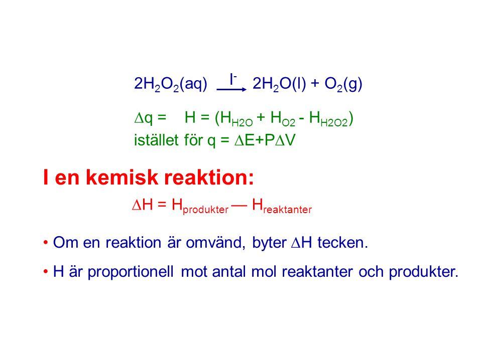 H = Hprodukter — Hreaktanter