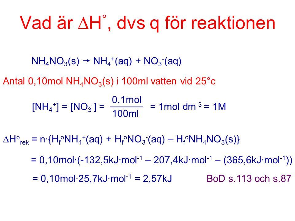 Vad är H°, dvs q för reaktionen