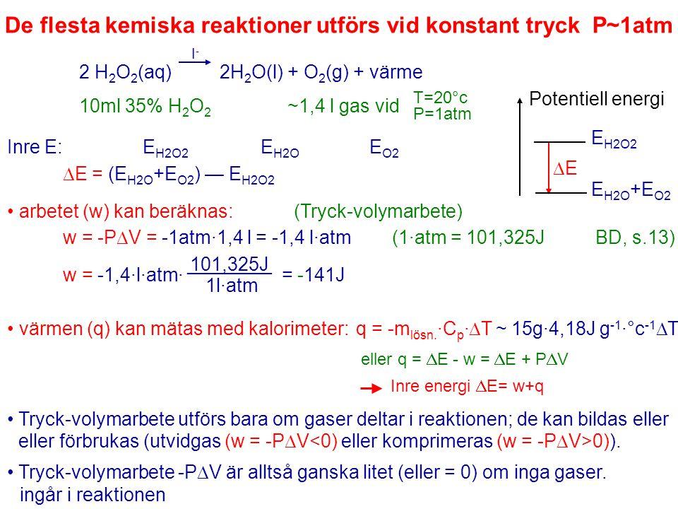 De flesta kemiska reaktioner utförs vid konstant tryck P~1atm