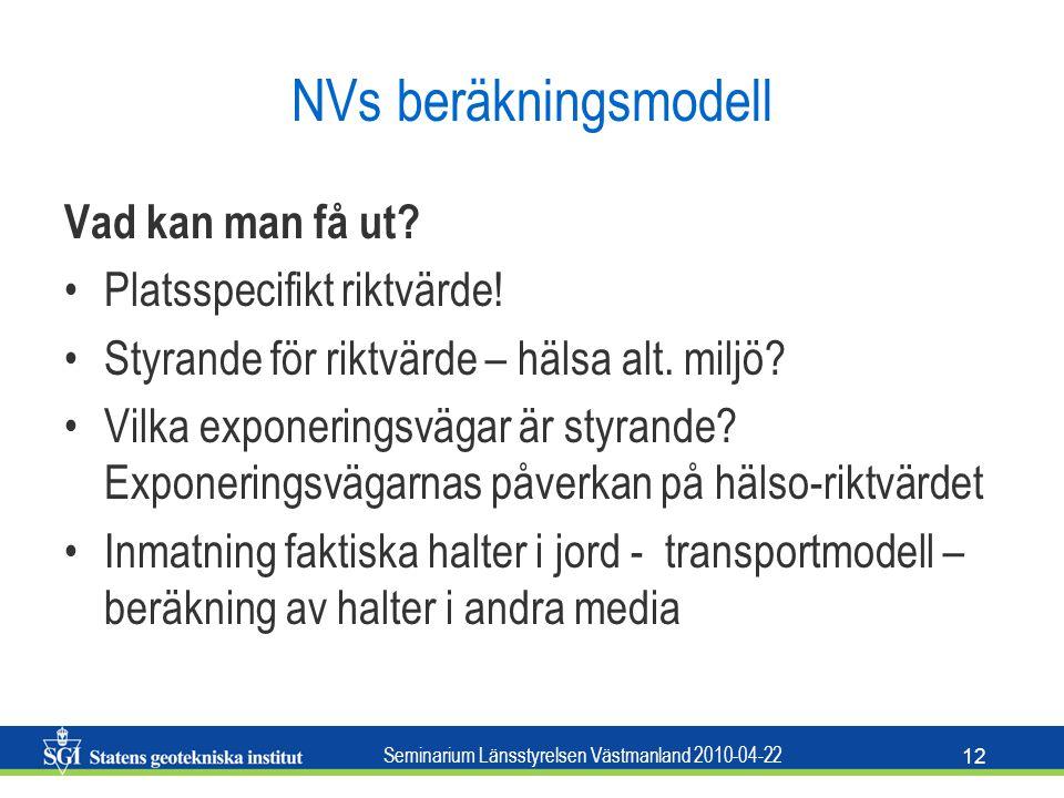 NVs beräkningsmodell Vad kan man få ut Platsspecifikt riktvärde!