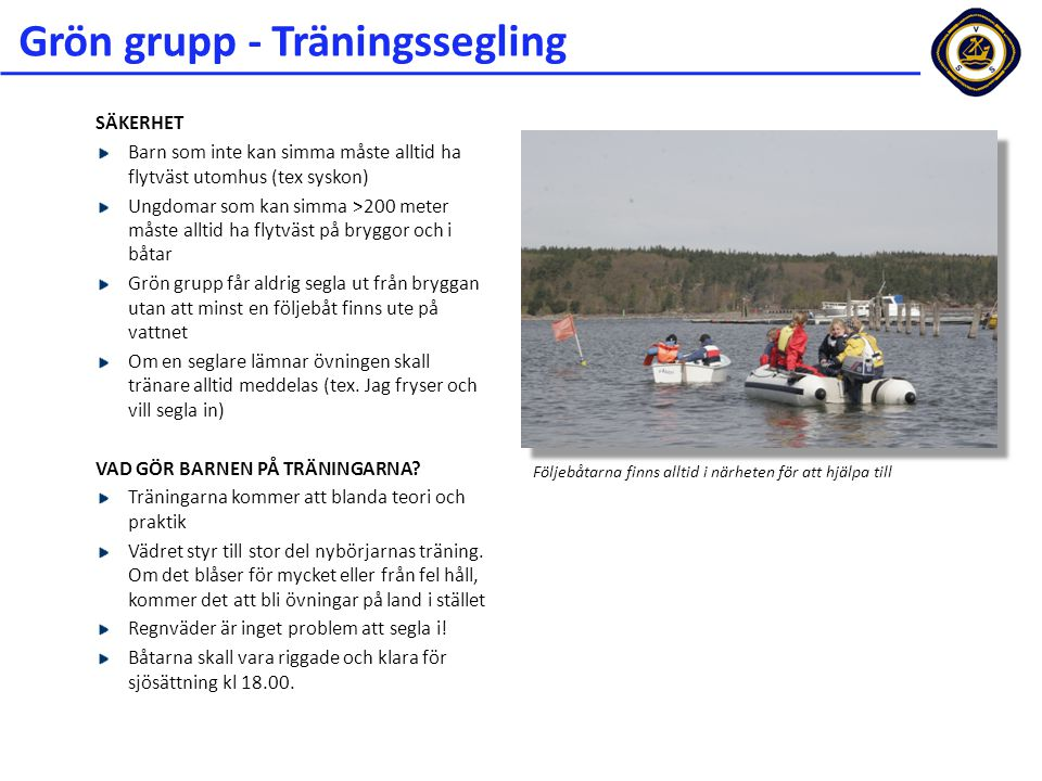 Grön grupp - Träningssegling