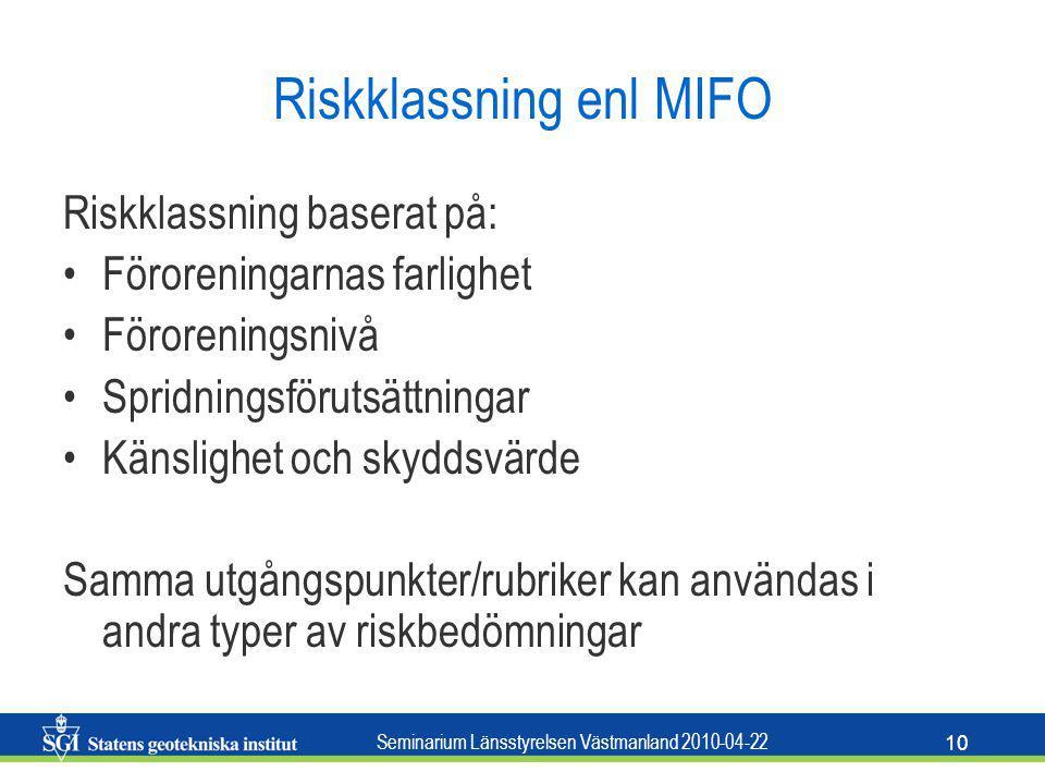 Riskklassning enl MIFO