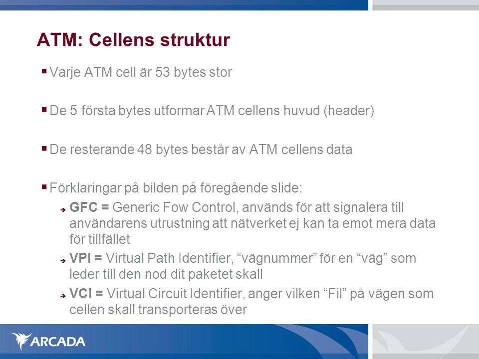 ATM: Cellens struktur Varje ATM cell är 53 bytes stor