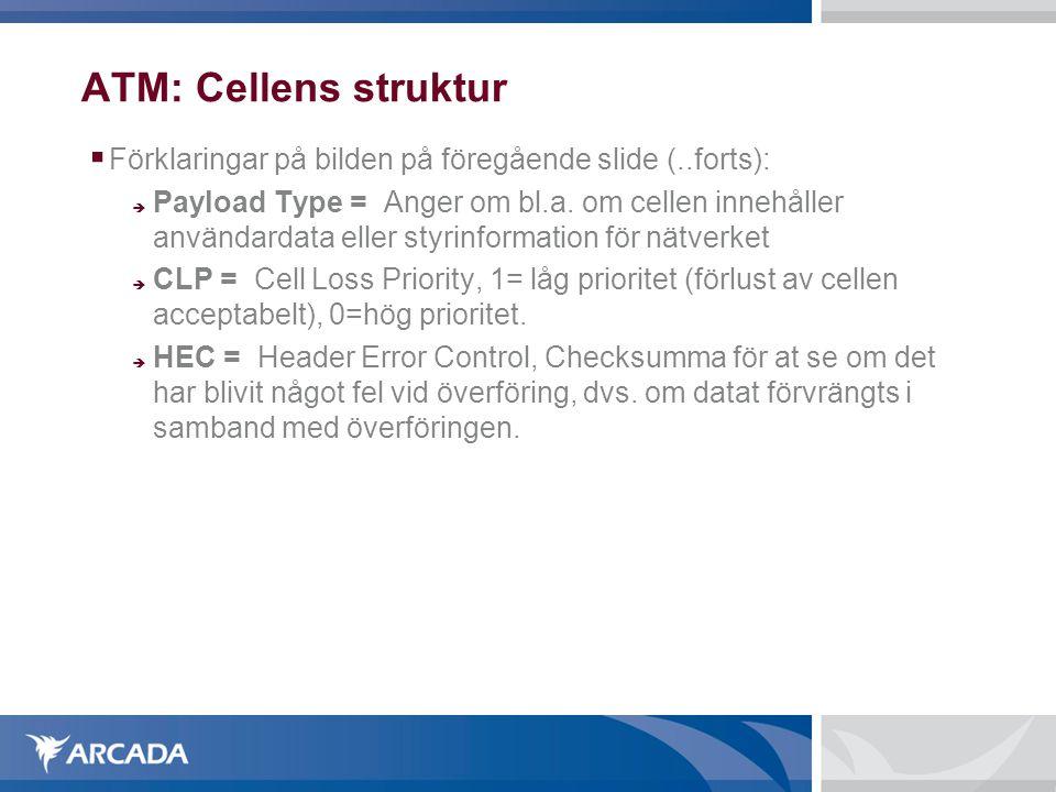 ATM: Cellens struktur Förklaringar på bilden på föregående slide (..forts):