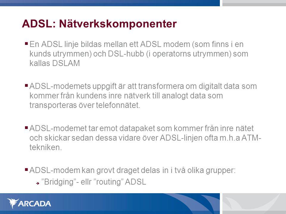ADSL: Nätverkskomponenter