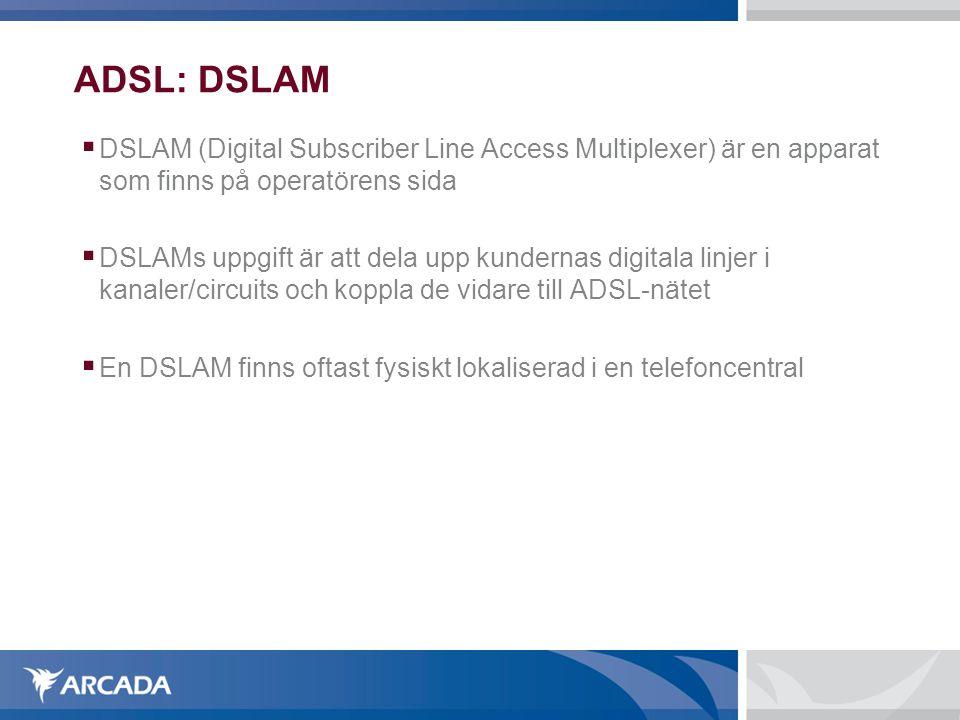 ADSL: DSLAM DSLAM (Digital Subscriber Line Access Multiplexer) är en apparat som finns på operatörens sida.