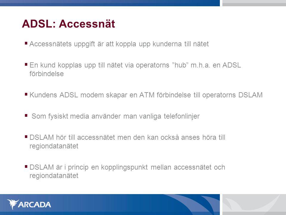 ADSL: Accessnät Accessnätets uppgift är att koppla upp kunderna till nätet.