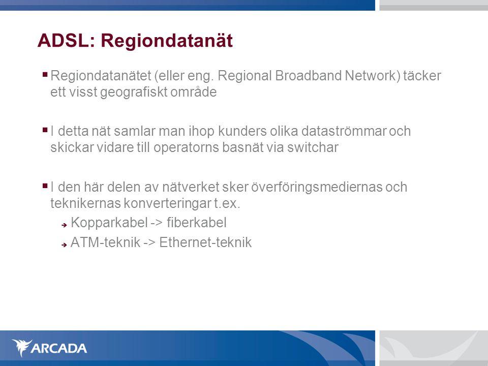 ADSL: Regiondatanät Regiondatanätet (eller eng. Regional Broadband Network) täcker ett visst geografiskt område.