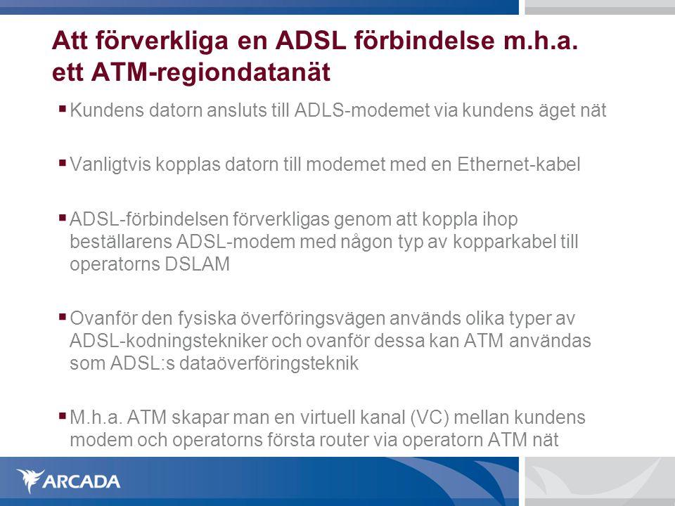 Att förverkliga en ADSL förbindelse m.h.a. ett ATM-regiondatanät