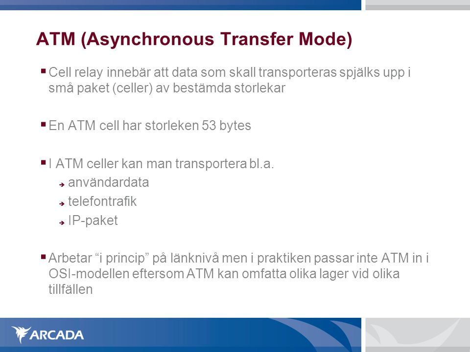 ATM (Asynchronous Transfer Mode)‏