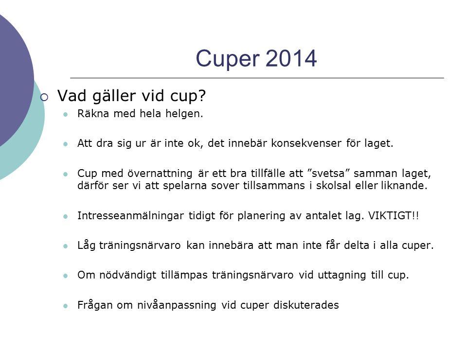 Cuper 2014 Vad gäller vid cup Räkna med hela helgen.
