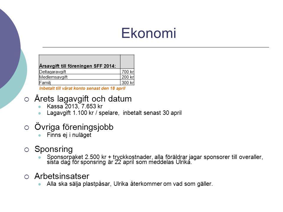 Ekonomi Årets lagavgift och datum Övriga föreningsjobb Sponsring