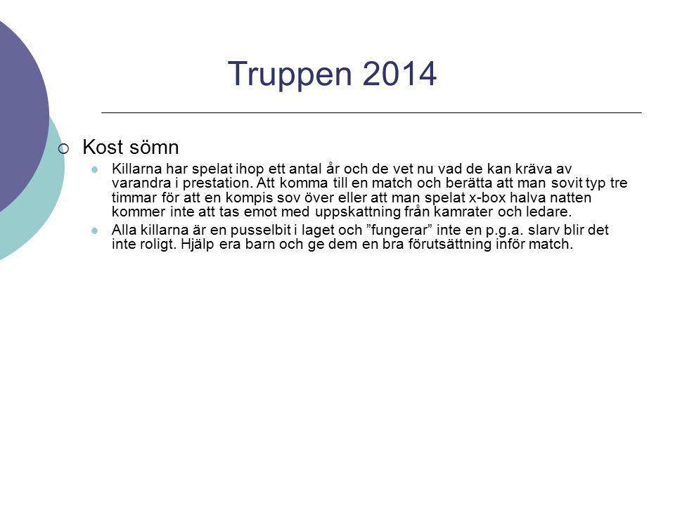 Truppen 2014 Kost sömn.