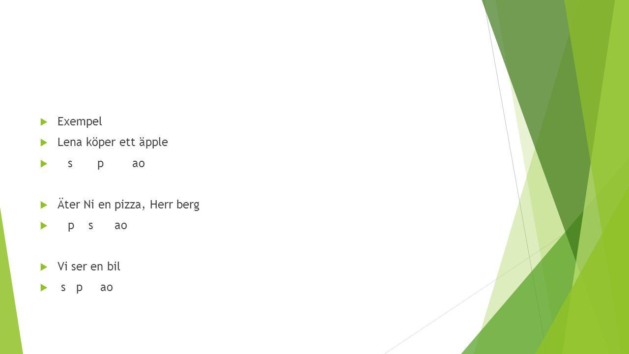 Exempel Lena köper ett äpple. s p ao. Äter Ni en pizza, Herr berg. p s ao. Vi ser en bil.
