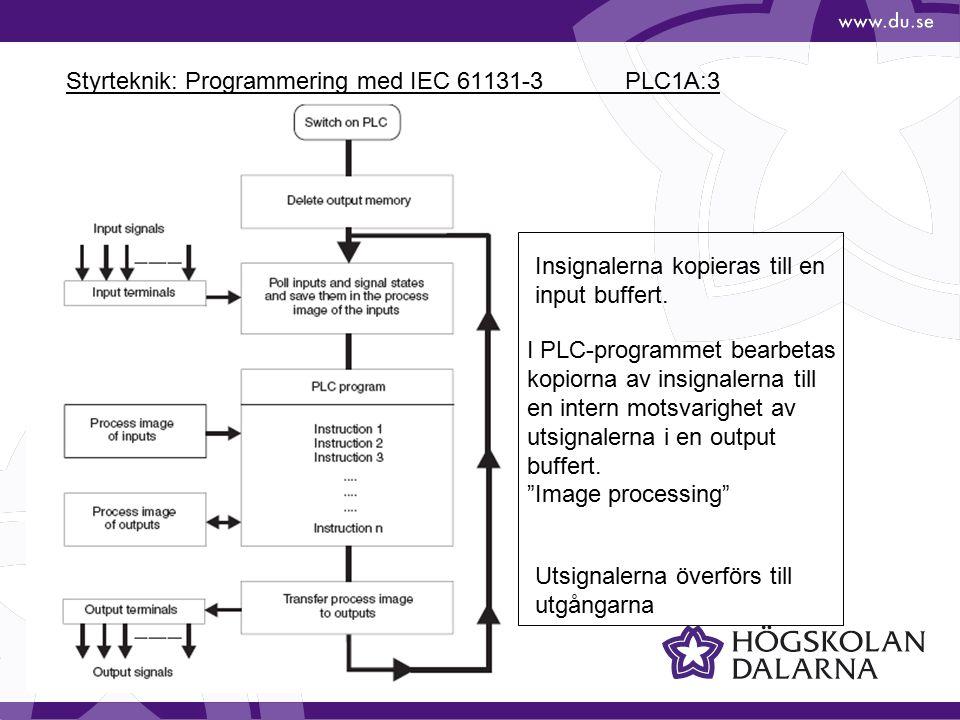 Styrteknik: Programmering med IEC 61131-3 PLC1A:3