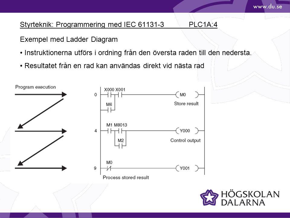 Styrteknik: Programmering med IEC 61131-3 PLC1A:4