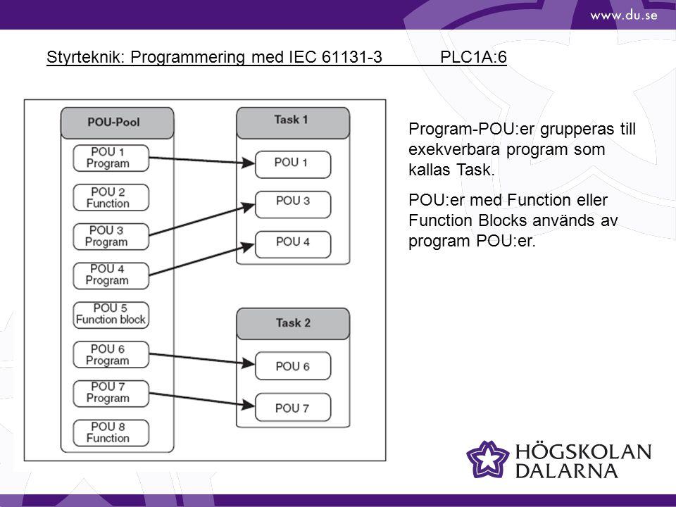 Styrteknik: Programmering med IEC 61131-3 PLC1A:6