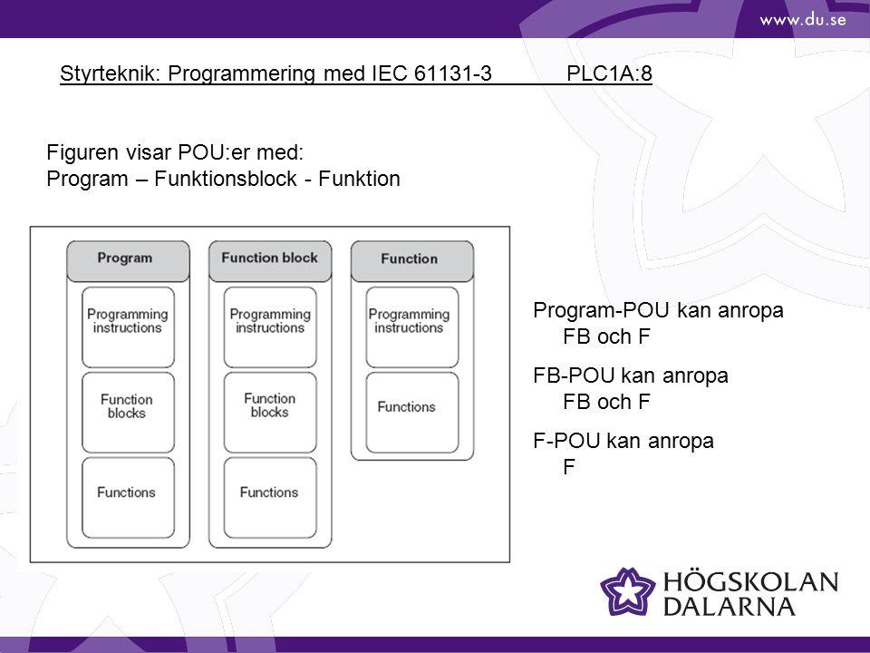Styrteknik: Programmering med IEC 61131-3 PLC1A:8