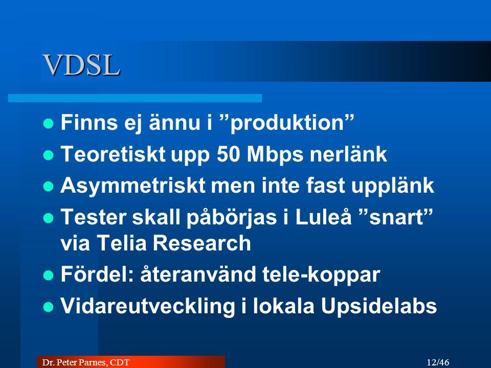 VDSL Finns ej ännu i produktion Teoretiskt upp 50 Mbps nerlänk