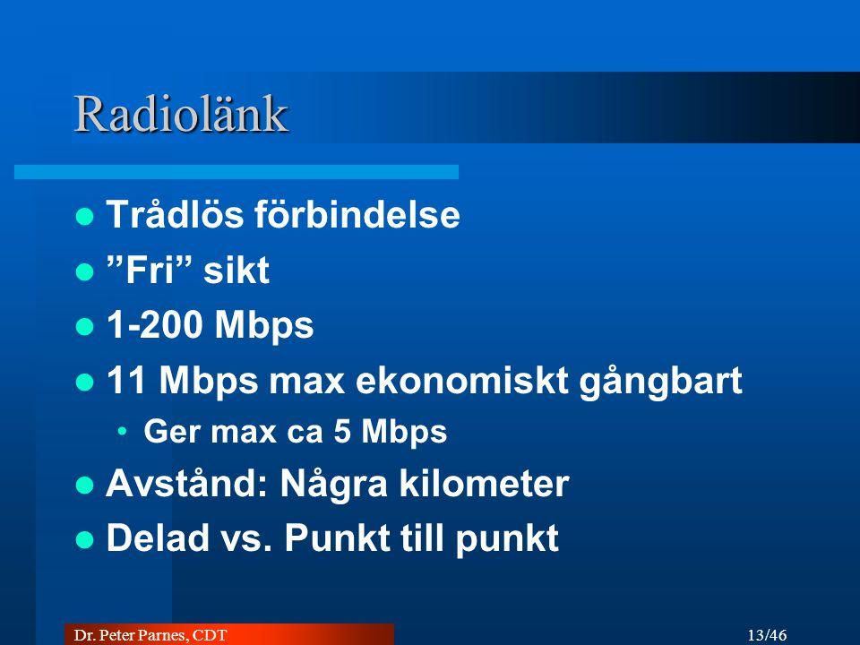 Radiolänk Trådlös förbindelse Fri sikt 1-200 Mbps