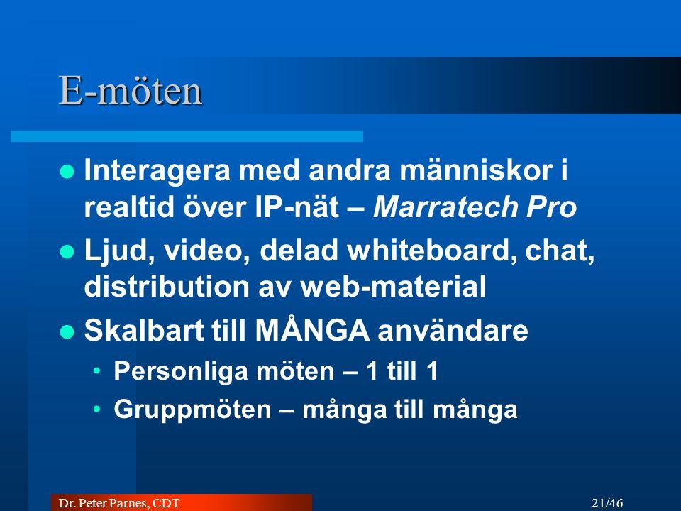 E-möten Interagera med andra människor i realtid över IP-nät – Marratech Pro. Ljud, video, delad whiteboard, chat, distribution av web-material.