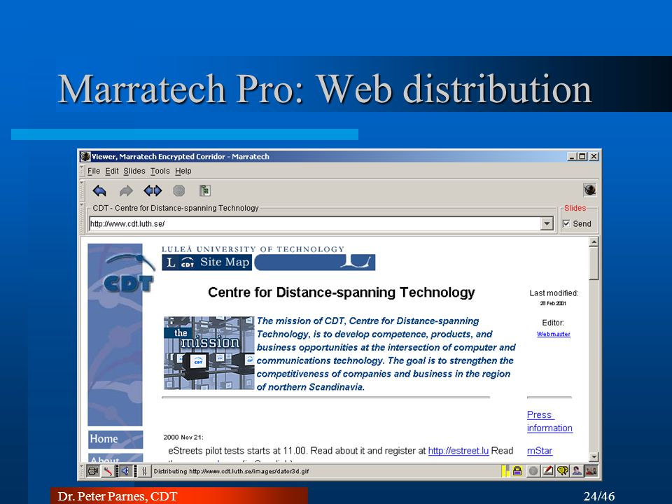 Marratech Pro: Web distribution